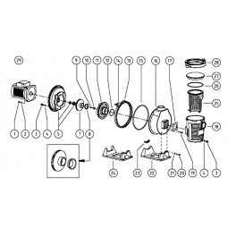 Ensemble rotor + plaque de montage + diffuseur et joint 1,1 kW