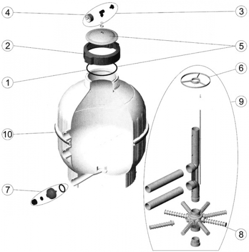 Crépines 3/4 (x2) (L.225 d.26 mm) filtre sable AstralPool CANTABRIC SIDE D600