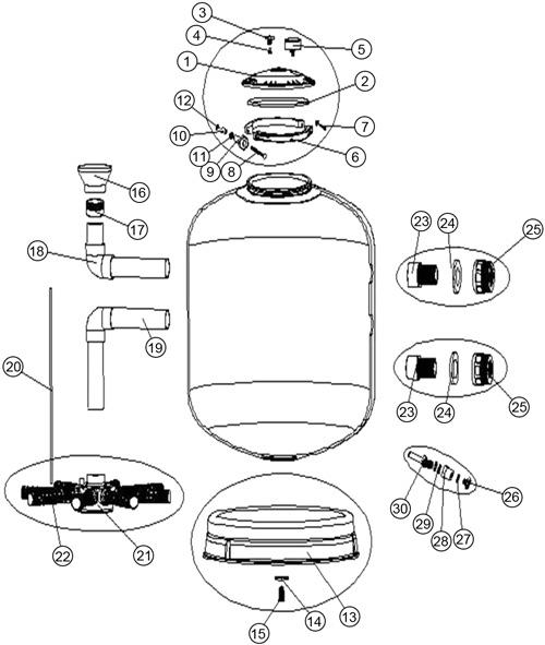 Joint de bouchon de vidange - 13x2.5 filtre sable AstralPool BERING D750