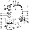 Tube de liaison avec écrou pour FSP500 - 580mm ACIS Platine filtration VIPool 4 m3