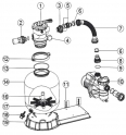 Tube de liaison avec écrous pour FSP 650 - 660mm ACIS Platine filtration VIPool 10 m3