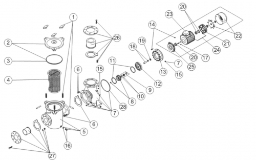 Ens. Ventilateur + Couvercle (20-25Hp)  (Pompe Fonte 4 À 25Cv Astral) AstralPool ARAL C1500