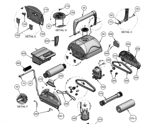 Sac filtrant pour robots KR700/720  Aquatron AstralPool SUPER BRAVO